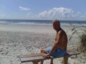 Tom Thomas sitting on his bench